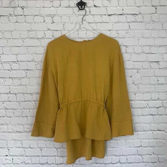 0853b2b7 Zara Tops | Women Hilow Linen Tie Blouse | Poshmark